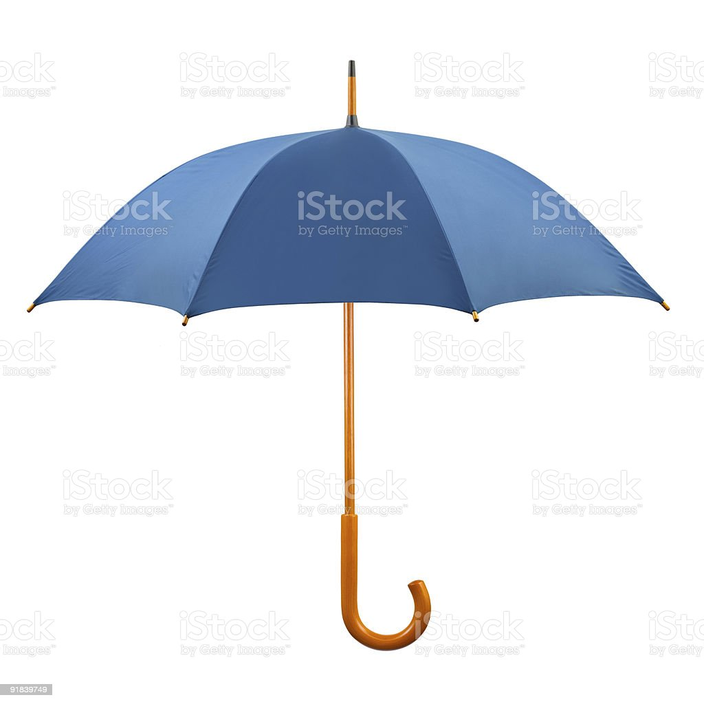 Opened blue umbrella with brown curved handle royalty-free stock photo