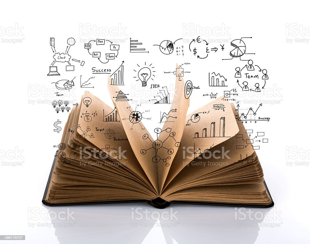 Opened book with business concept and graph isolated over white stock photo