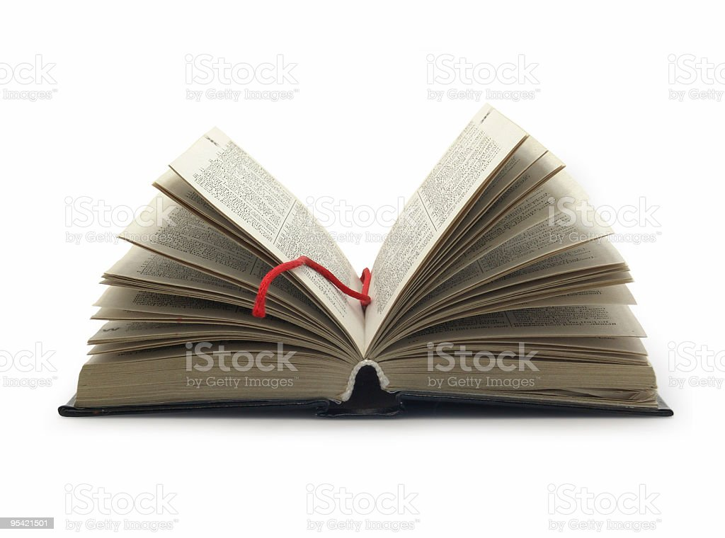 Opened book with red bookmark royalty-free stock photo