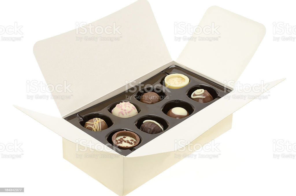 Opened box of chocolates royalty-free stock photo