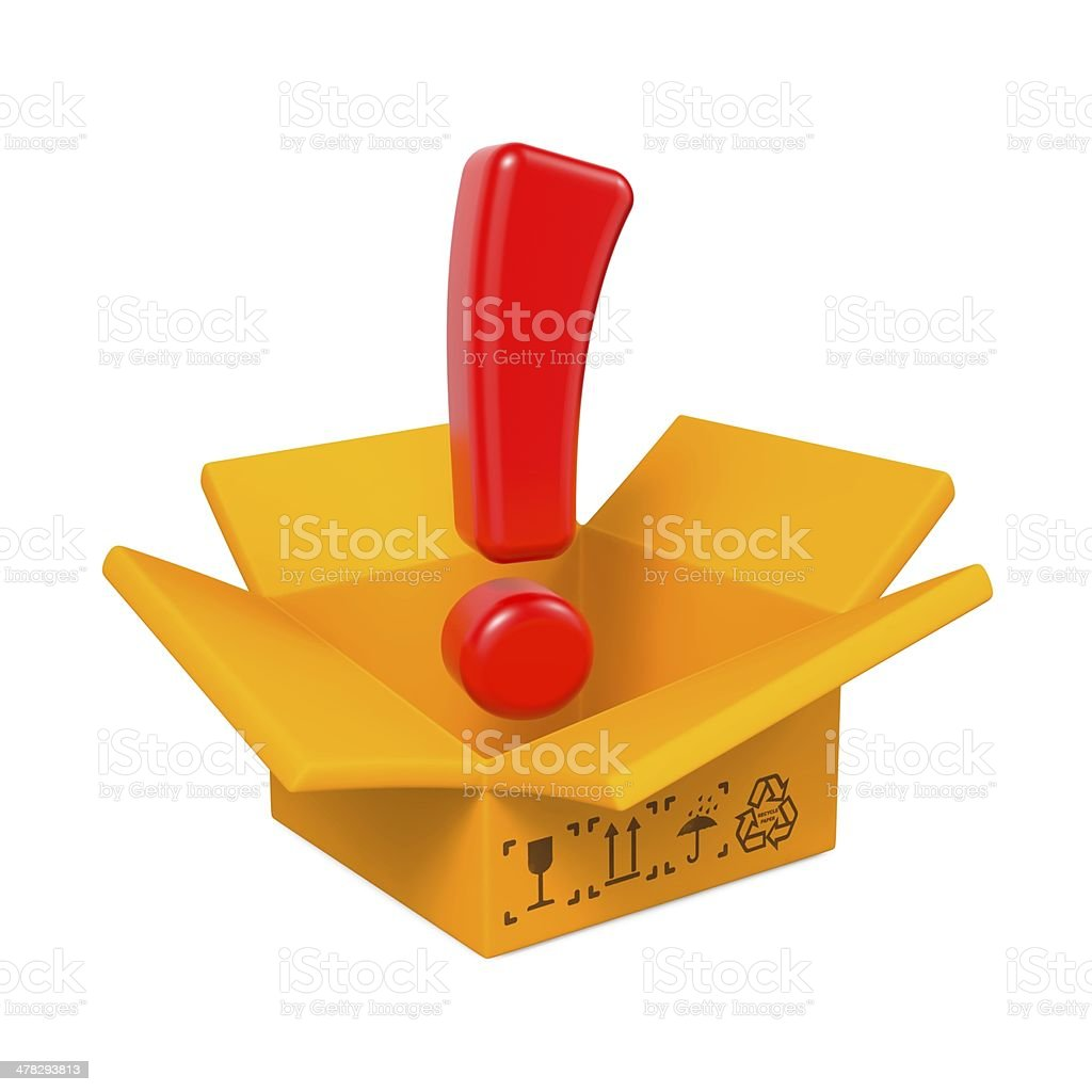 Opened Box with Exclamation Mark. royalty-free stock photo