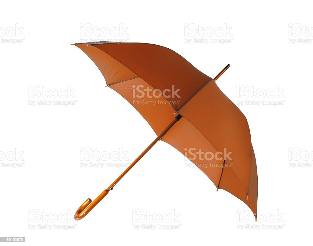 Opened brown umbrella isolated on white background stock photo