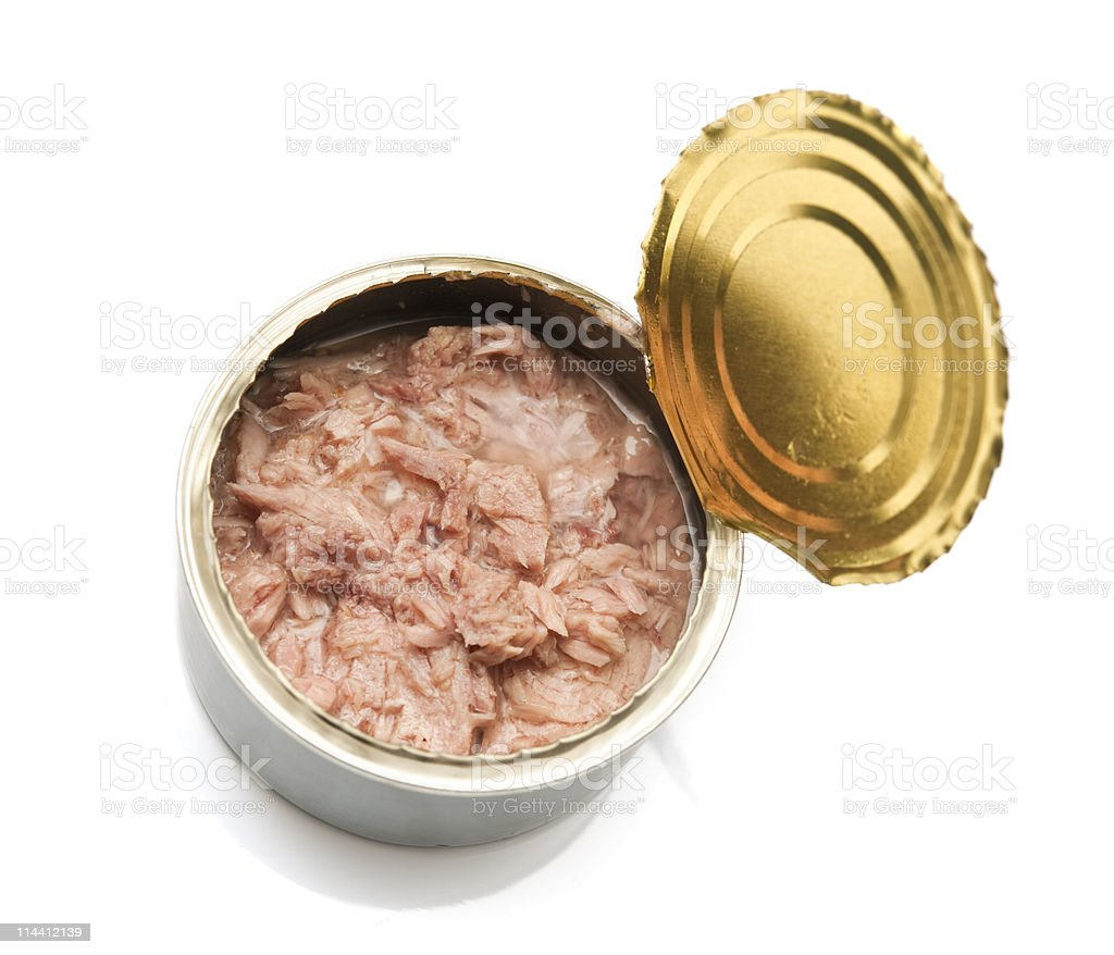 opened can of tinned tuna royalty-free stock photo