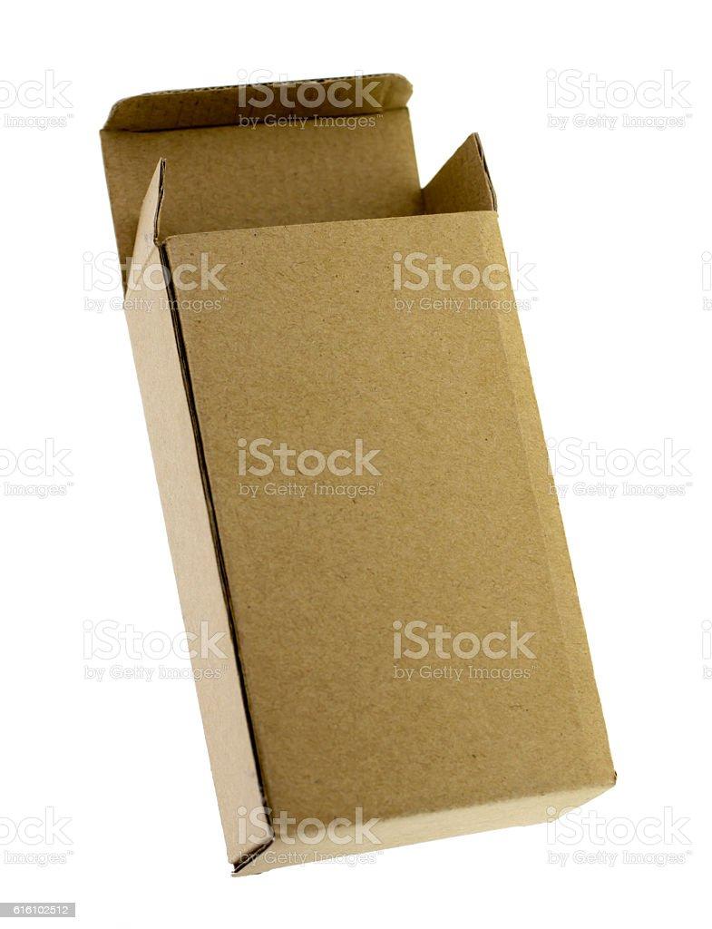 Opened cardboard box Isolated on white background. stock photo