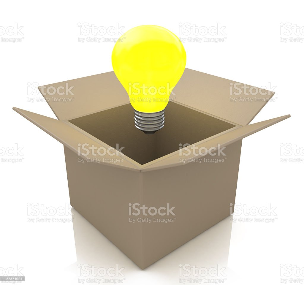 Opened cardboard box with lit light bulb, thinking outside stock photo