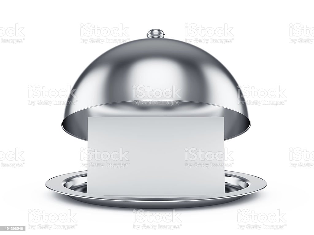 Opened cloche with paper stock photo