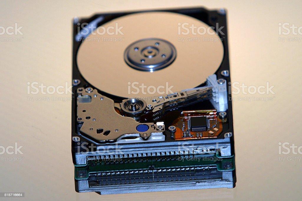 Opened computer hard drive stock photo
