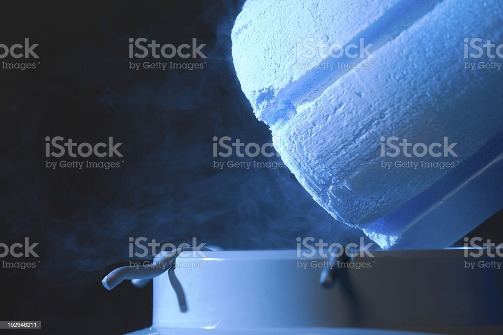 Opened container with liquid nitrogen, close up royalty-free stock photo