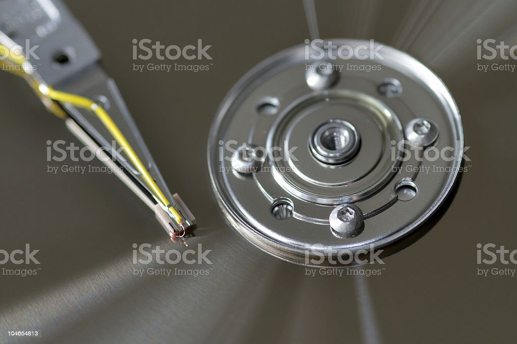 opened disc drive stock photo