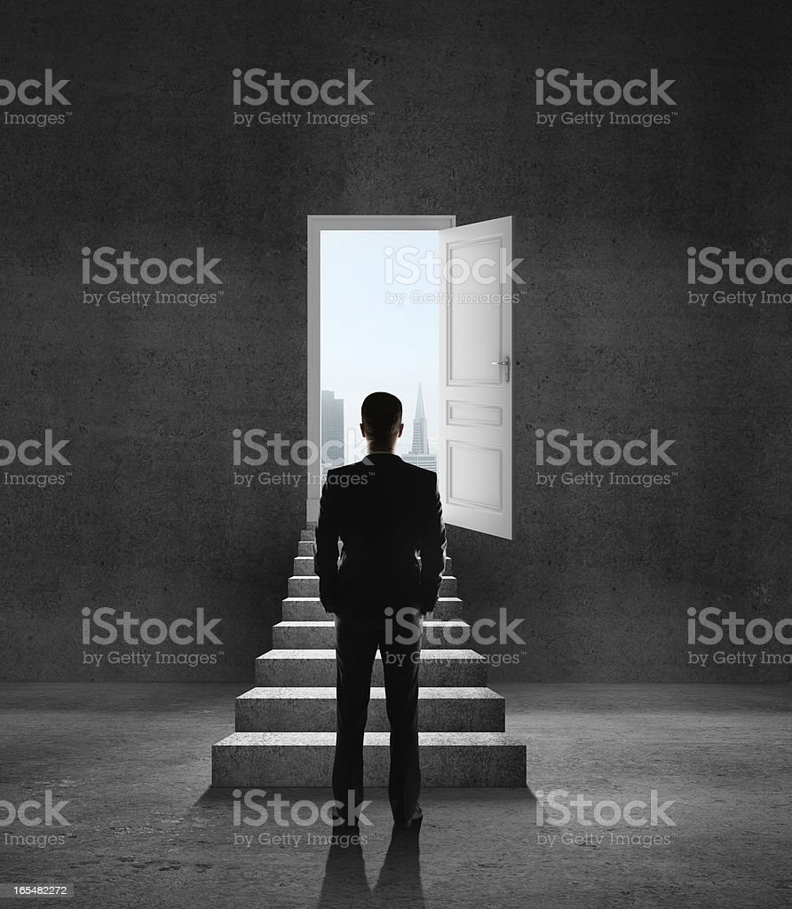 opened door and ledder royalty-free stock photo