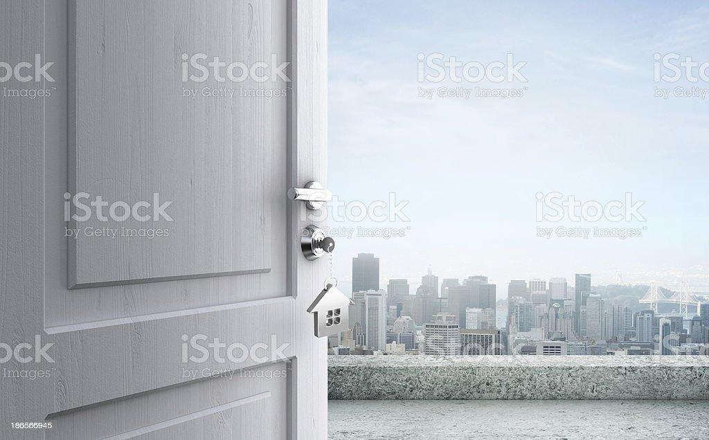 opened door in city royalty-free stock photo