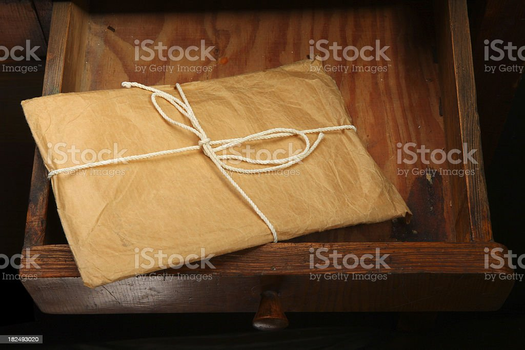 opened drawer around sticking out with envelope royalty-free stock photo