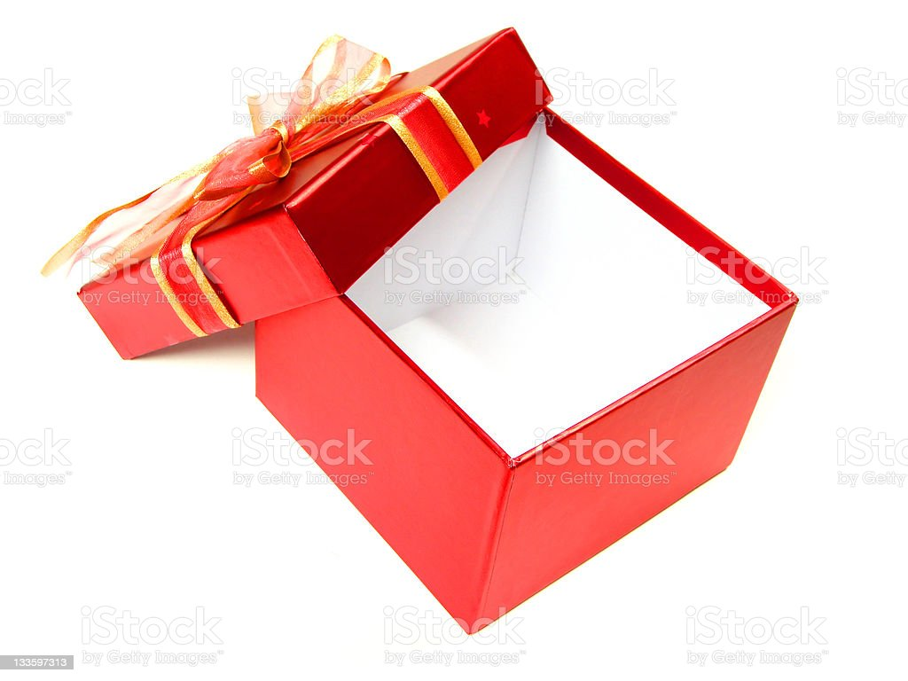 Opened empty red gift box over white royalty-free stock photo