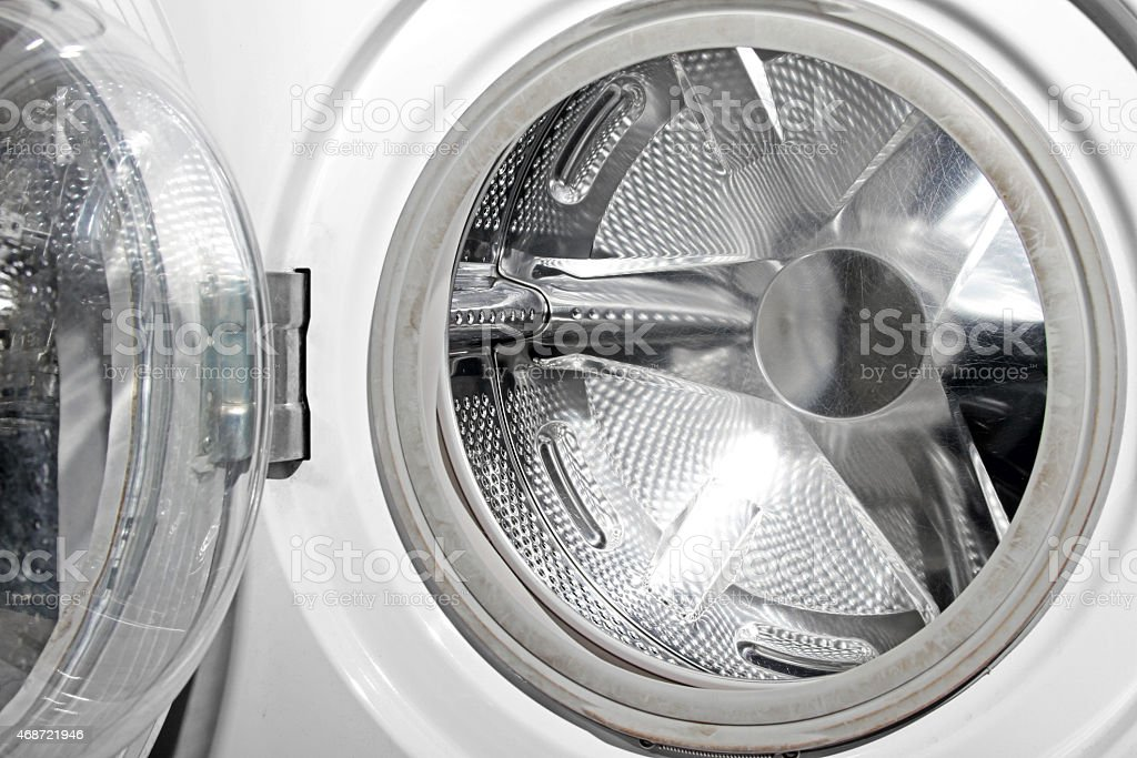 opened empty washing machine stock photo