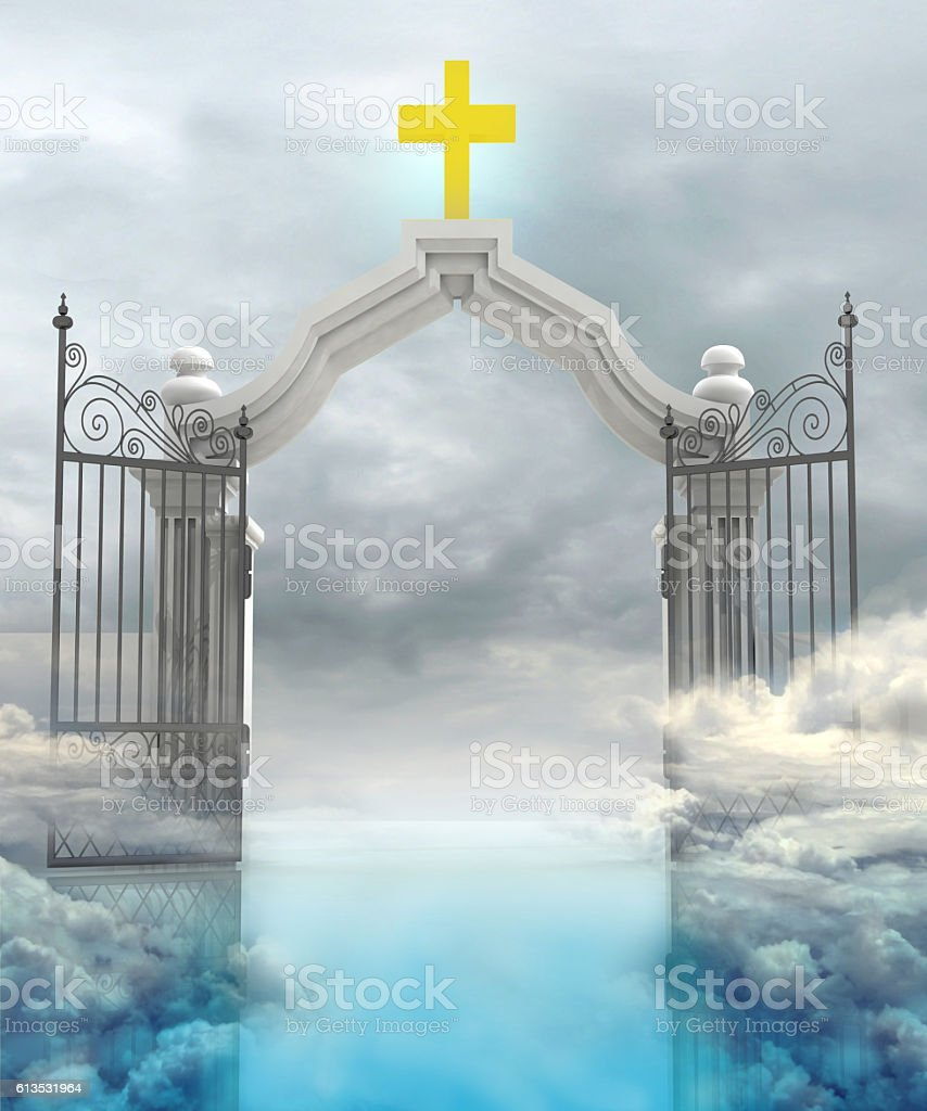 opened entrance to Gods paradise in sky vector art illustration