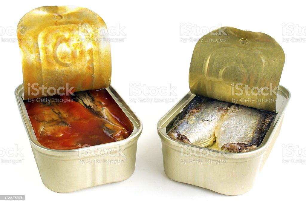 Opened fish cans royalty-free stock photo