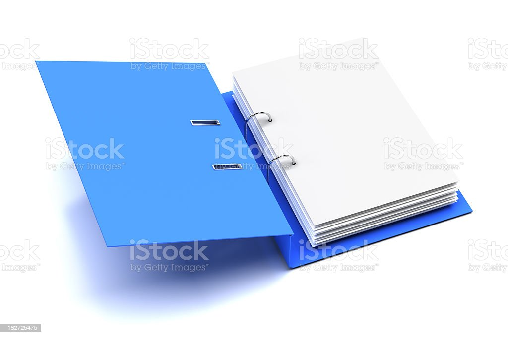 Opened folder with blank page stock photo