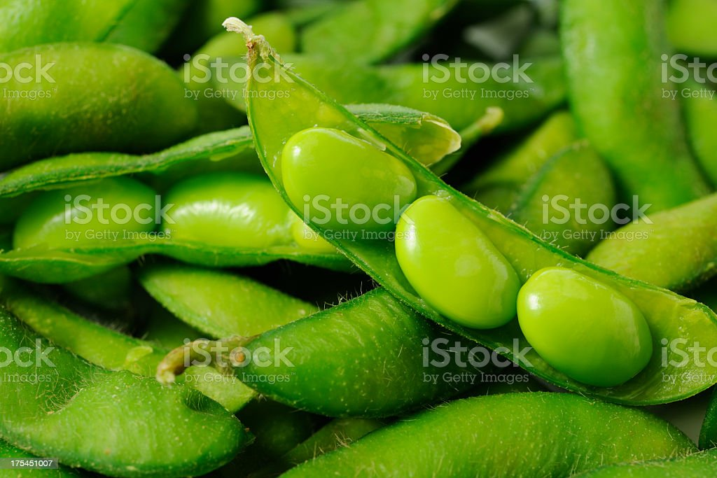 Opened fresh boiled green soybeans stock photo