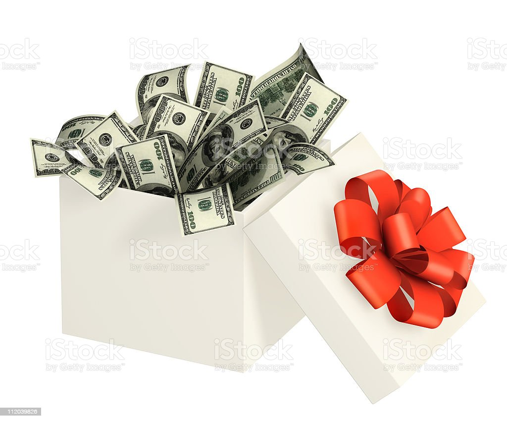 Opened gift and dollars stock photo