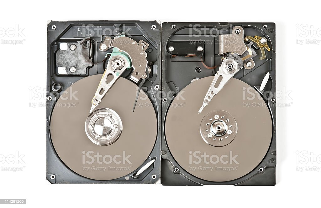 Opened hard drive royalty-free stock photo