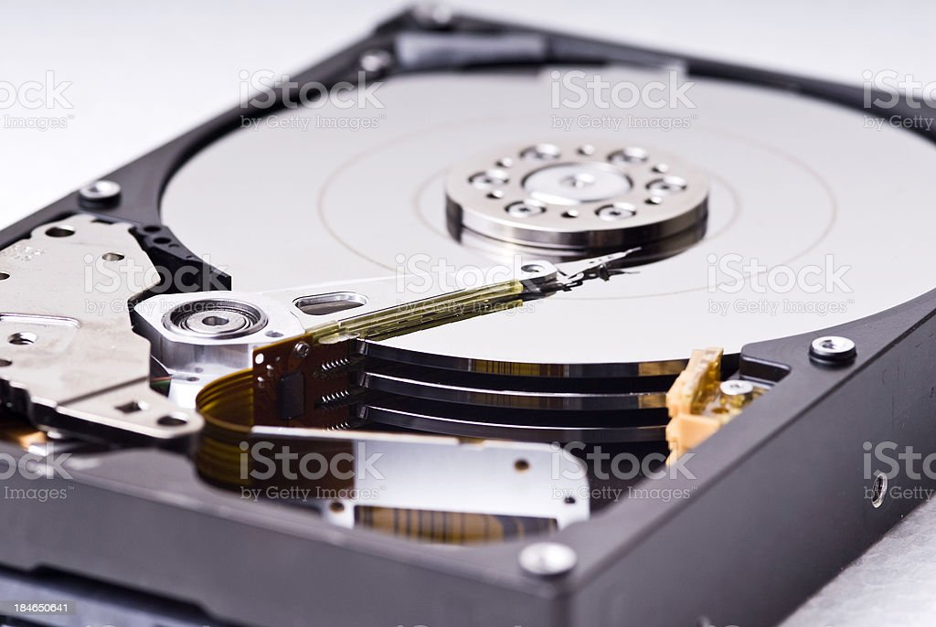 Opened Hard Drive stock photo