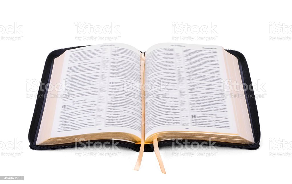 Opened Holy Bible book stock photo