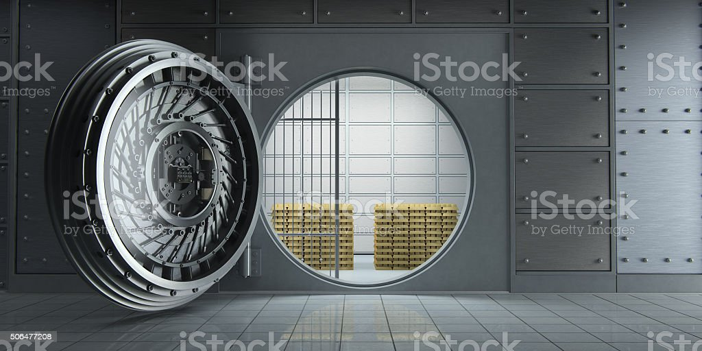 Opened huge bank vault full of gold bars front view stock photo