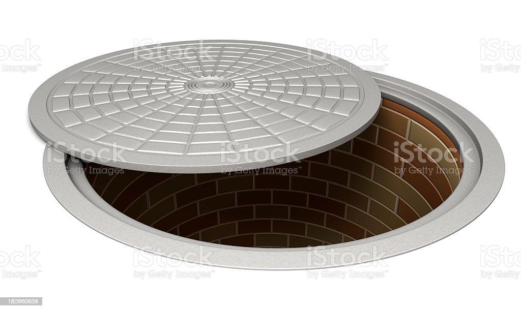 Opened manhole stock photo