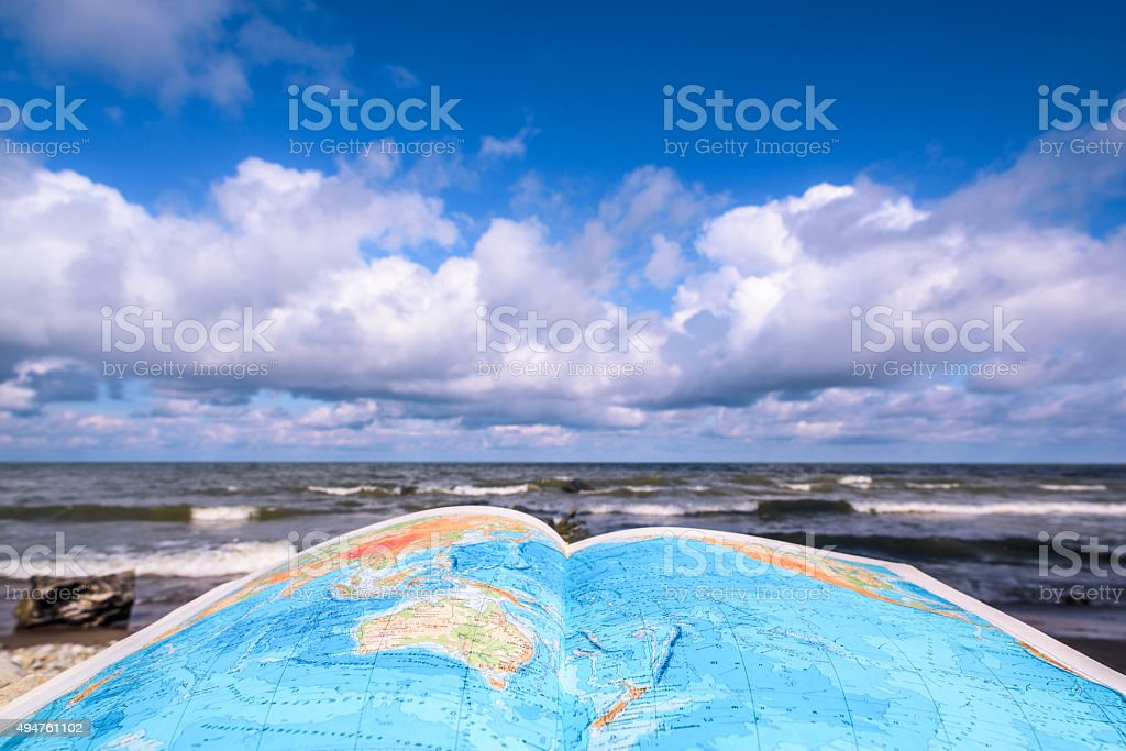 Opened map-book stock photo