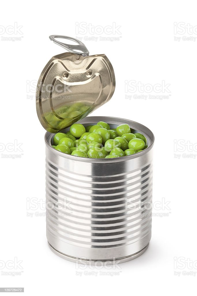 Opened metallic can with green peas stock photo