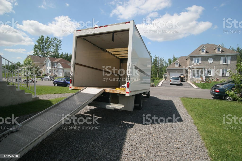 Opened Moving Truck with Ramp stock photo