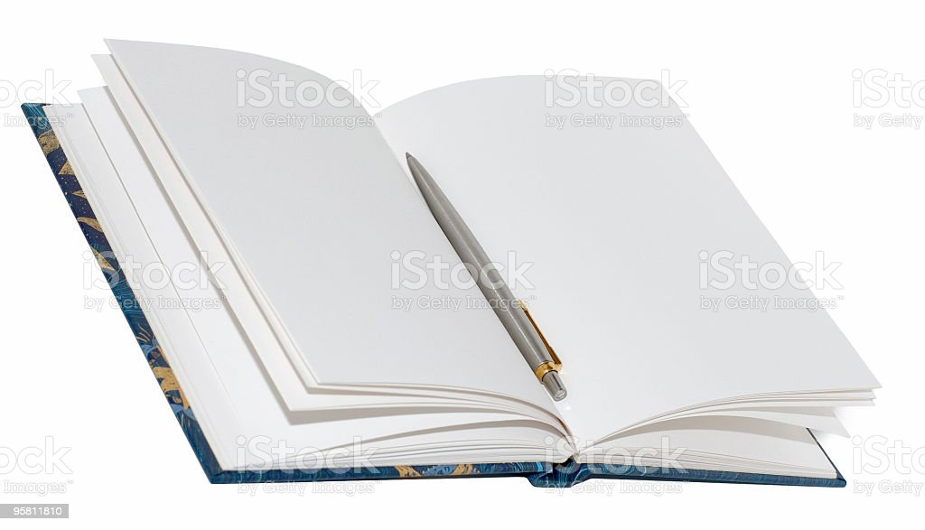 opened notebook and pen royalty-free stock photo