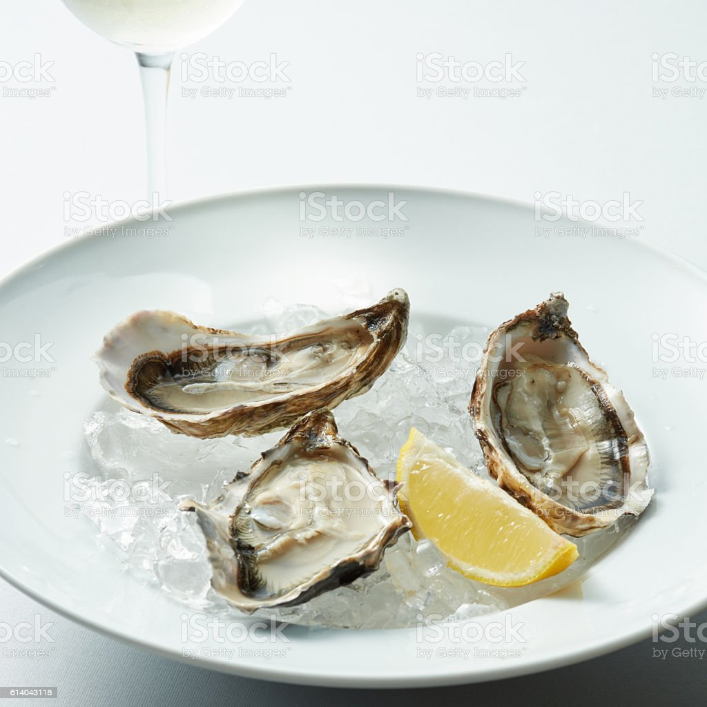 opened oyster on dish stock photo