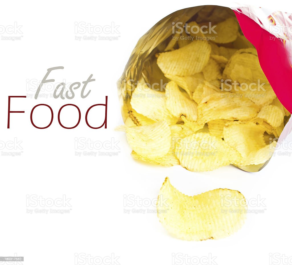 Opened pack of potato chips on white background, stock photo
