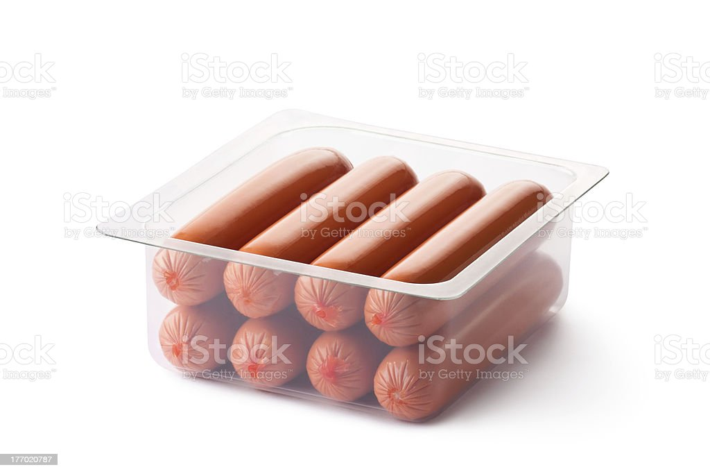 Opened pack of sausages royalty-free stock photo
