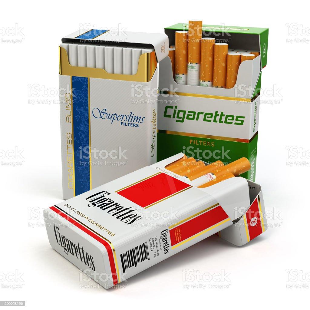 Opened packs of cigarettes isolated on white. stock photo