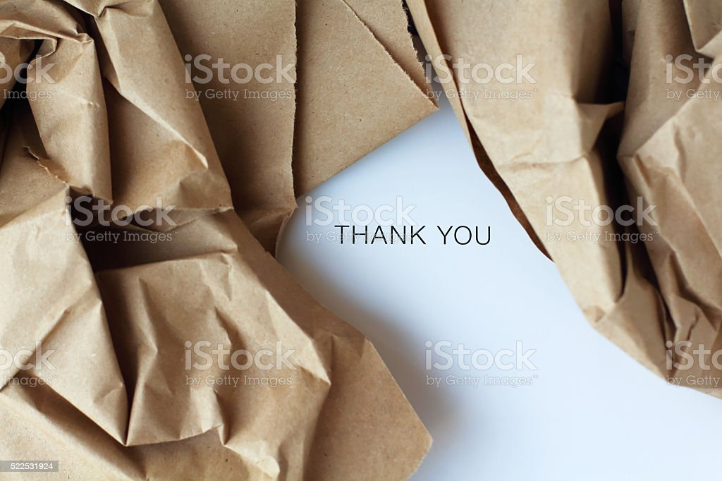 opened parcel and gift card inside stock photo