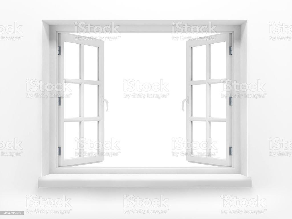 Opened plastic window. 3d render stock photo