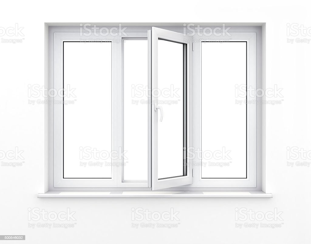 Opened plastic window. stock photo
