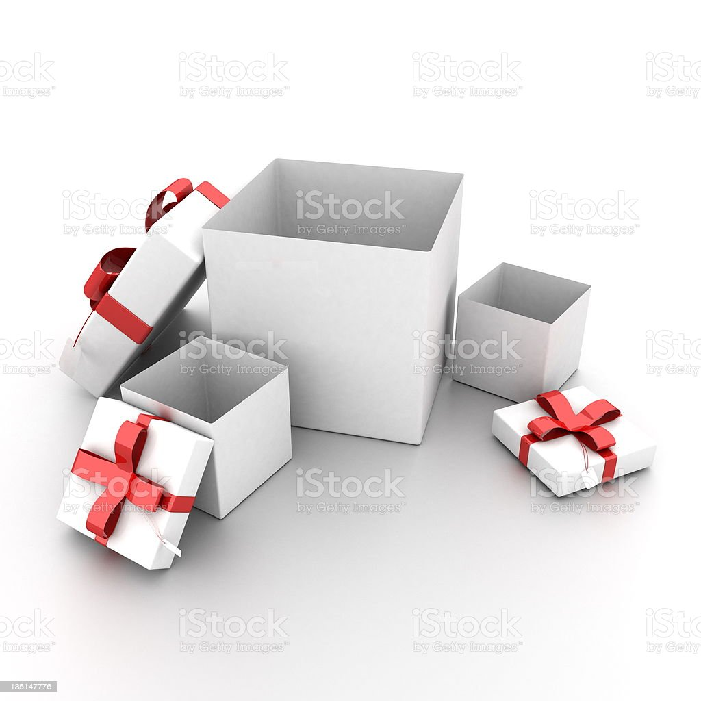 opened presents stock photo