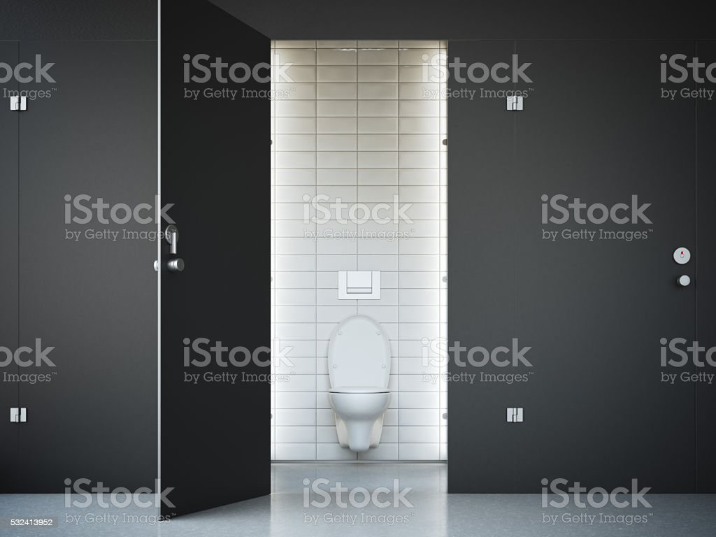 Opened public toilet cubicle with dark door. 3d rendering stock photo