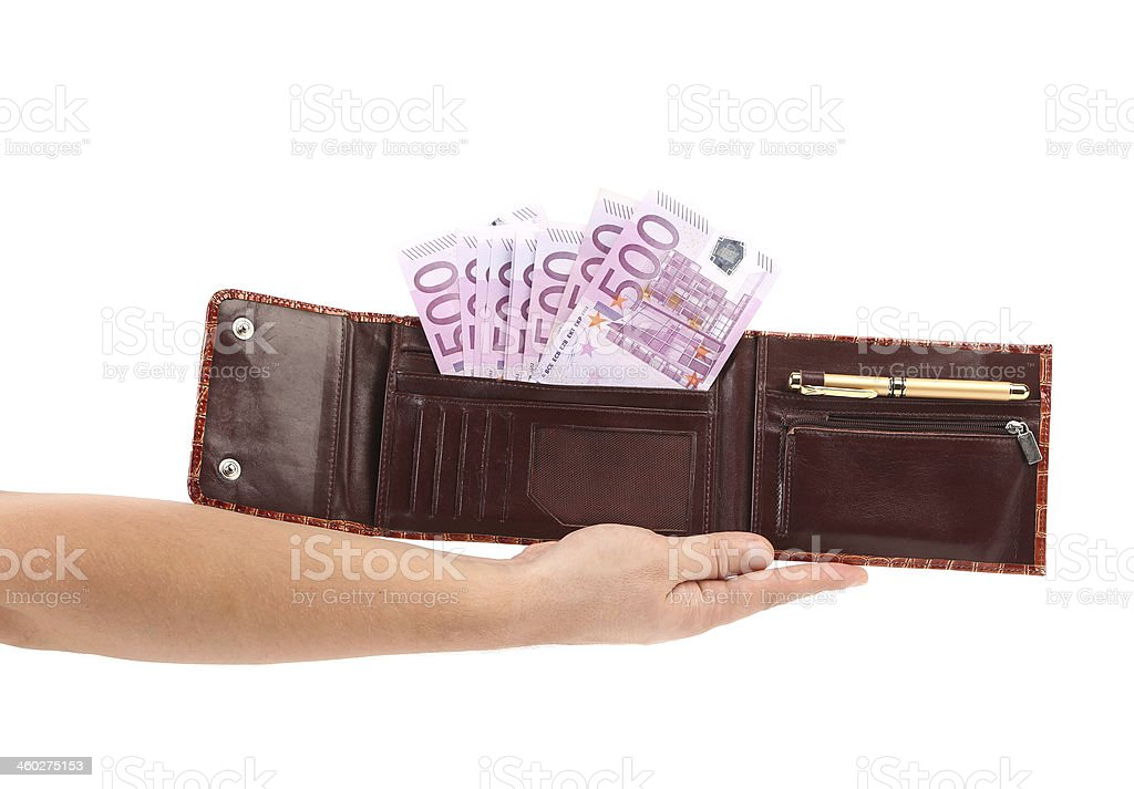 Opened purse with euro bills on hand. stock photo