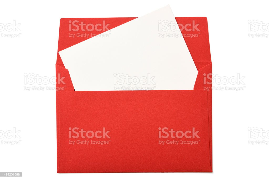 Opened red envelope with blank card on white background stock photo