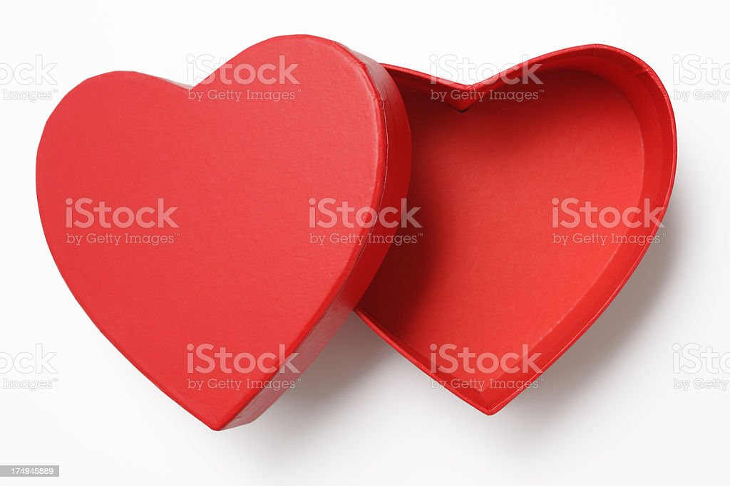 Opened red heart shape box with shadow on white background stock photo