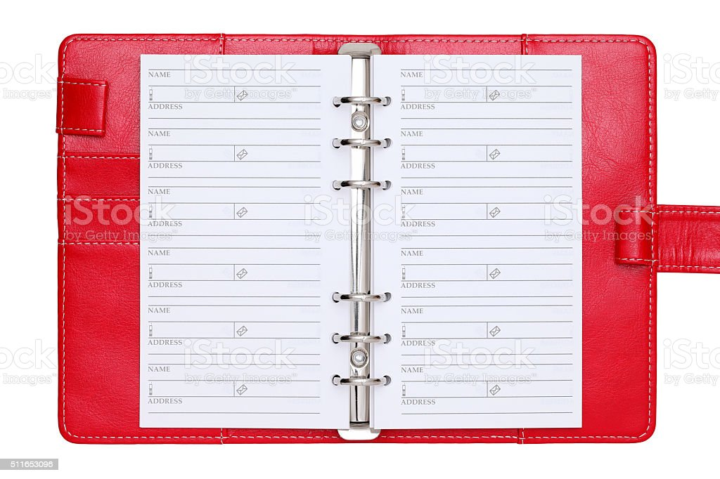 opened red leather notebook stock photo