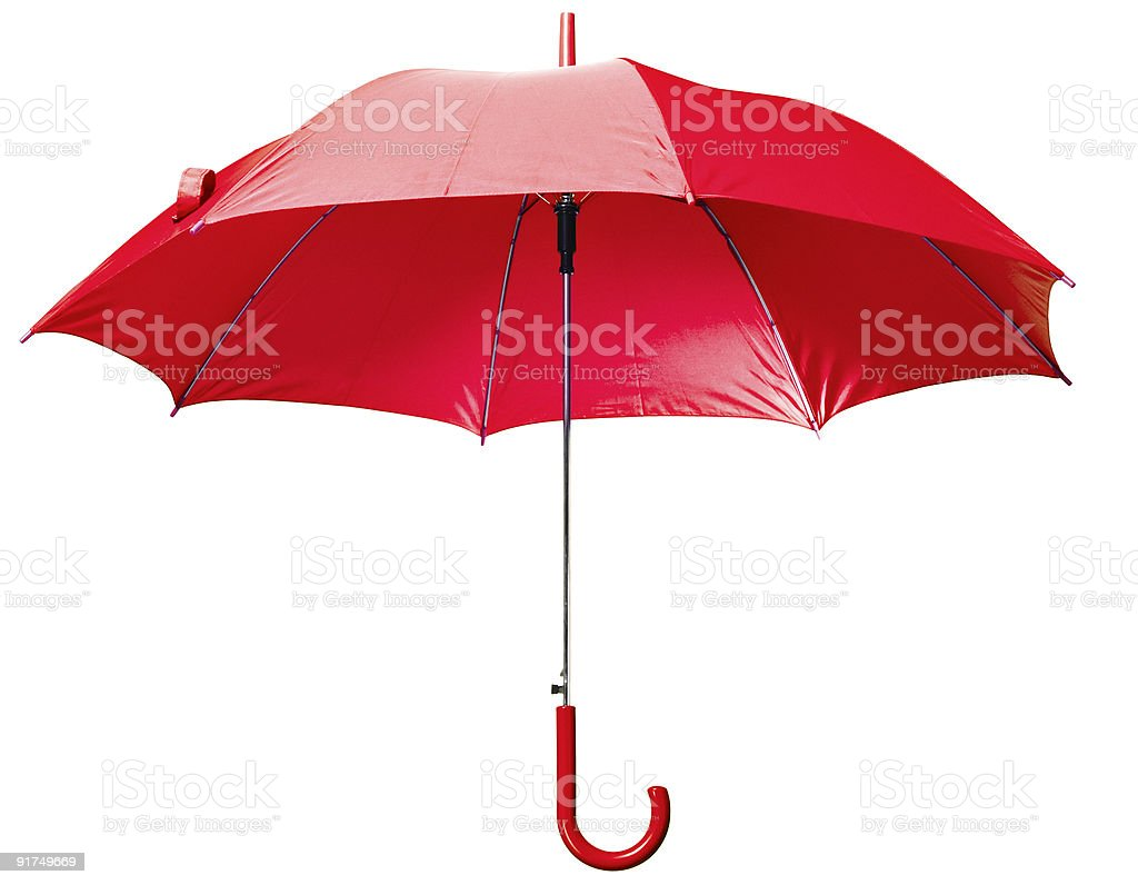 Opened red umbrella against a white background stock photo