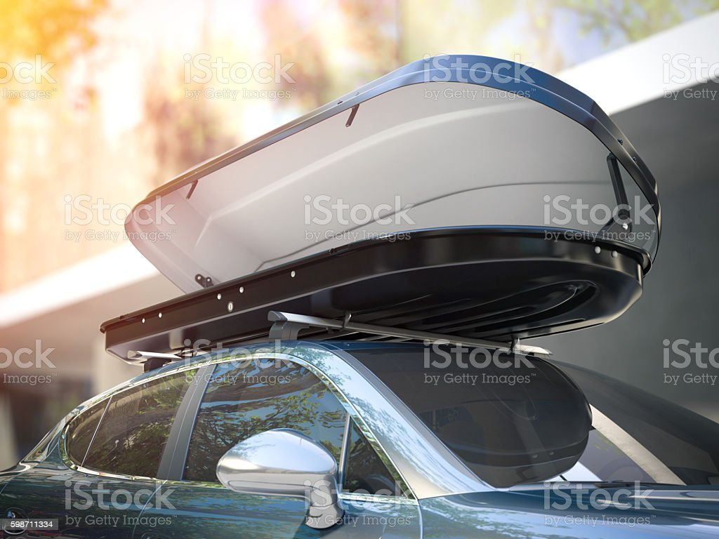 Opened roof rack and modern silver car. 3d rendering stock photo