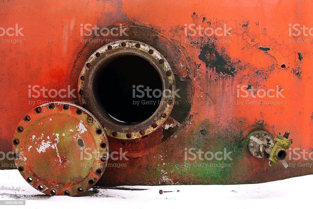 opened rusty manhole stock photo