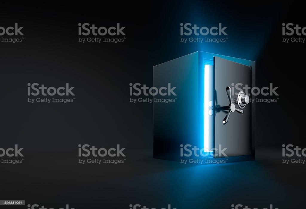 Opened safe box stock photo