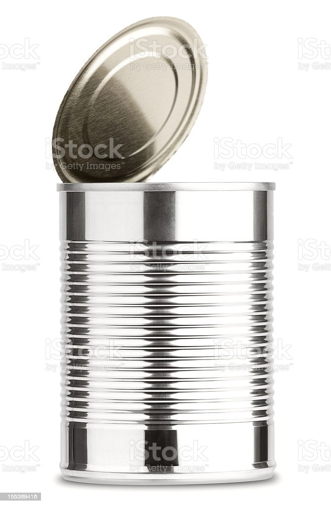 Opened Shiny Aluminum Tin  Can Without Label Isolated on White stock photo